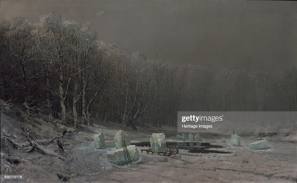 Winter. Ice splitting. Artist: Meshchersky, Arseni Ivanovich (1834-1902) : News Photo