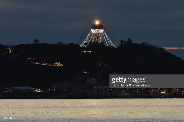 Winter illuminated lighthouse on Enoshima Island in Fujisawa city in Kanagawa prefecture in Japan