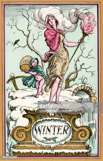 Winter Illustration by Reginald John 'Rex' Whistler From The New ForgetMeNot A Calendar published 1929