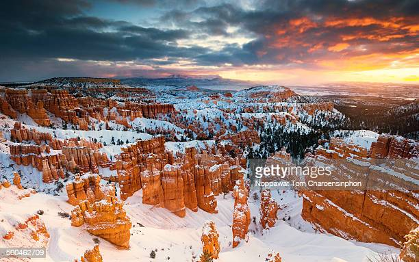 winter in bryce canyon national park - bryce canyon stock pictures, royalty-free photos & images