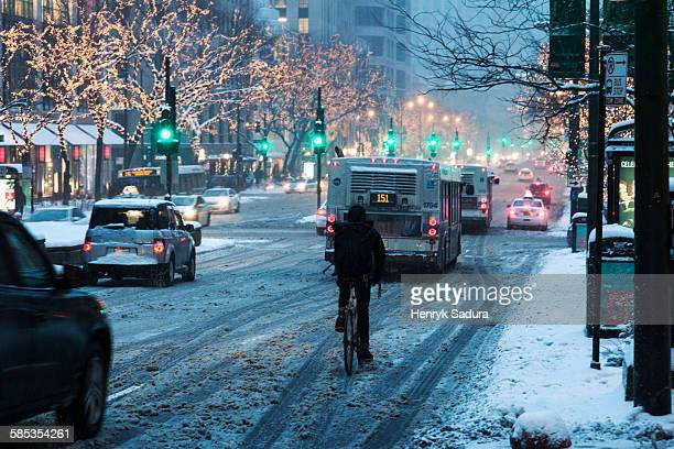 Winter in Chicago - biker on Michigan Avenue