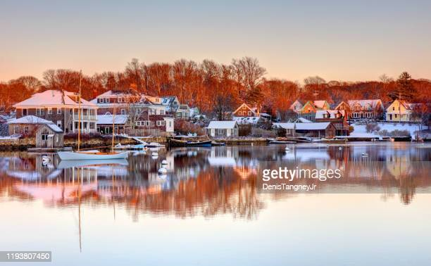 winter in falmouth on cape cod - massachusetts stock pictures, royalty-free photos & images