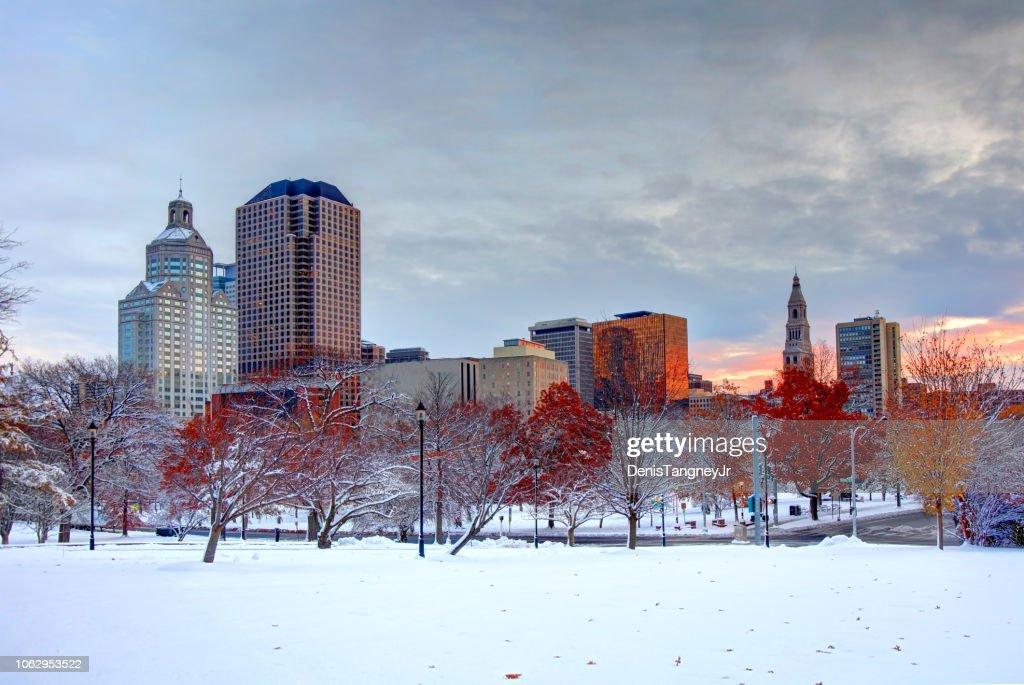ハートフォード、コネチカット州の冬 : ストックフォト