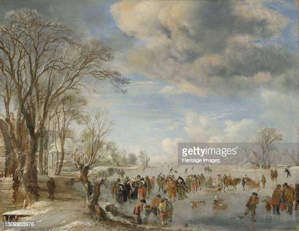 Skating Scene, 1645. Artist Aert van der Neer. .