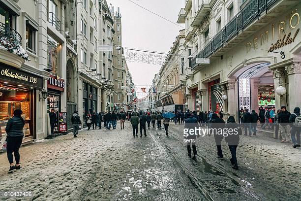Winter in Istiklal Street, Beyoglu, Istanbul.