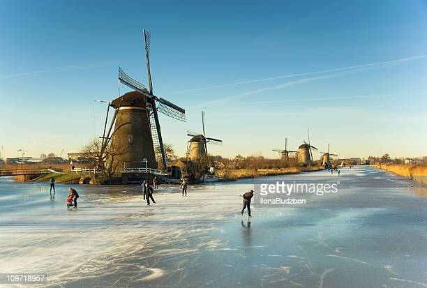 winter in kinderdijk - netherlands stock pictures, royalty-free photos & images