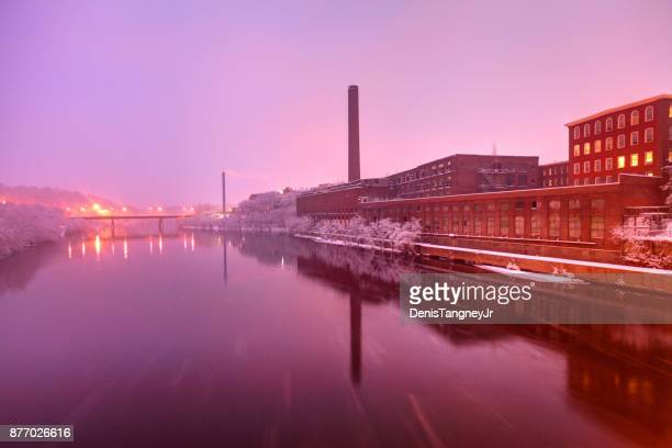 winter in lowell massachusetts - industrial revolution stock pictures, royalty-free photos & images