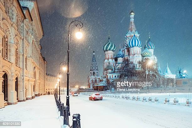 winter in moscow. russia. - russia stock pictures, royalty-free photos & images