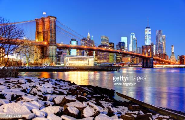 winter in new york city - brooklyn new york stock pictures, royalty-free photos & images
