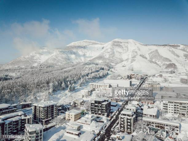 winter in niseko, japan. - hokkaido stock pictures, royalty-free photos & images