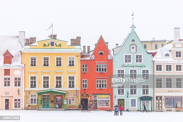 winter in old town. - tallinn stock pictures, royalty-free photos & images