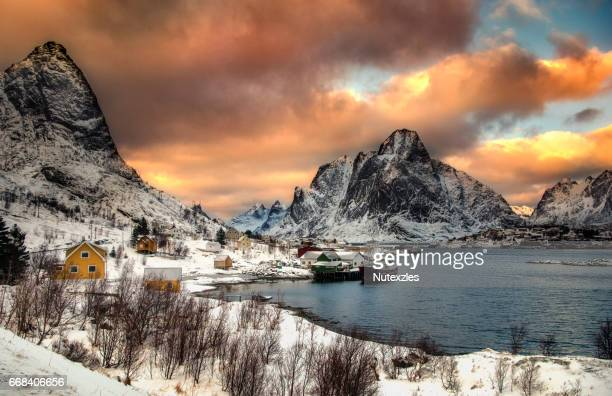 Winter in Olenilsoya in Reine, Lofoten Islands, Norway.