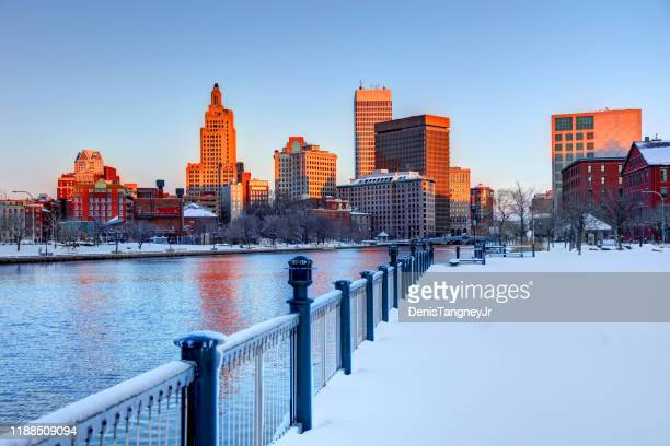 winter in providence, rhode island - rhode island stock pictures, royalty-free photos & images