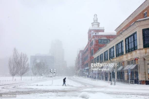 winter in providence rhode island - blizzard stock pictures, royalty-free photos & images