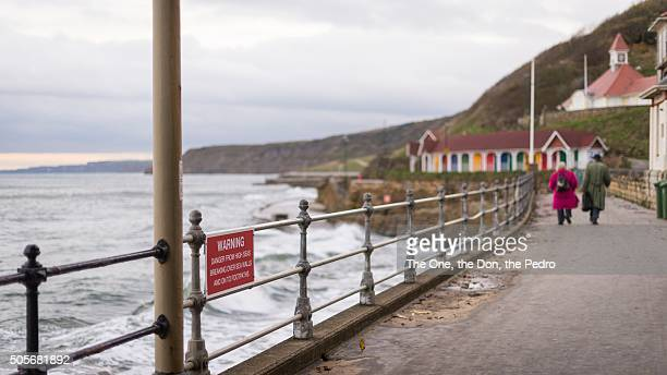 winter in scarborogh - scarborough uk stock pictures, royalty-free photos & images