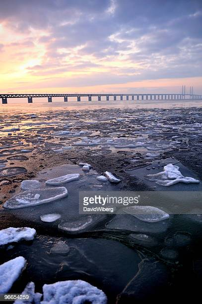 Winter in southern Sweden, Malmö side of Oresund Bridge