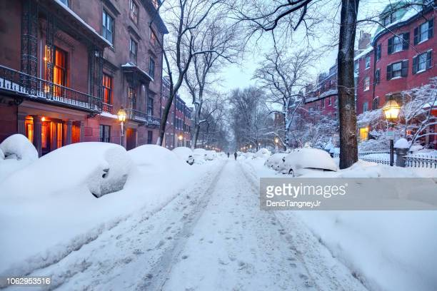 winter in the beacon hill neighborhood of boston - deep snow stock pictures, royalty-free photos & images