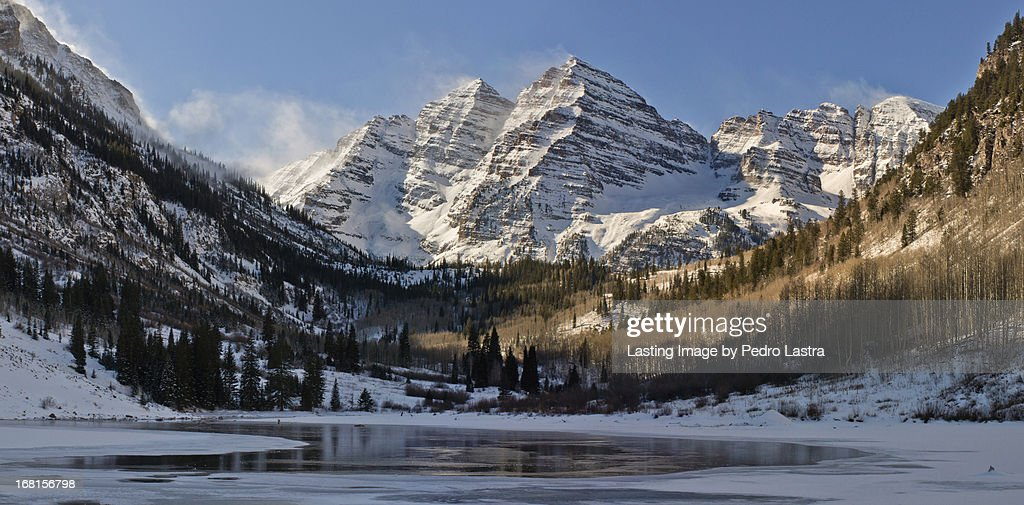 Winter in the Maroon Bells, Elk Range, Colorado. : Stock Photo