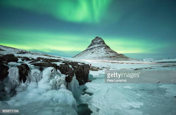 winter kirkjufell aurora - tundra stock pictures, royalty-free photos & images