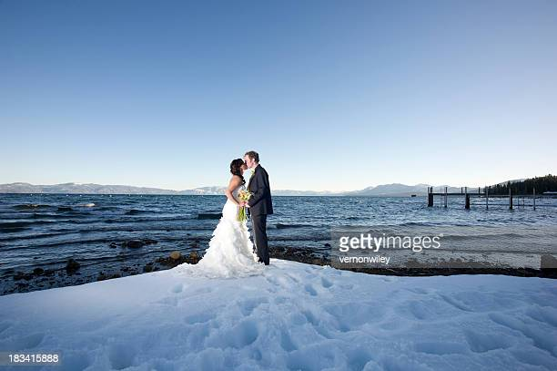 winter kiss - lake tahoe stock photos and pictures