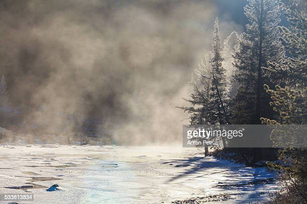 Winter landscape at dawn on the river