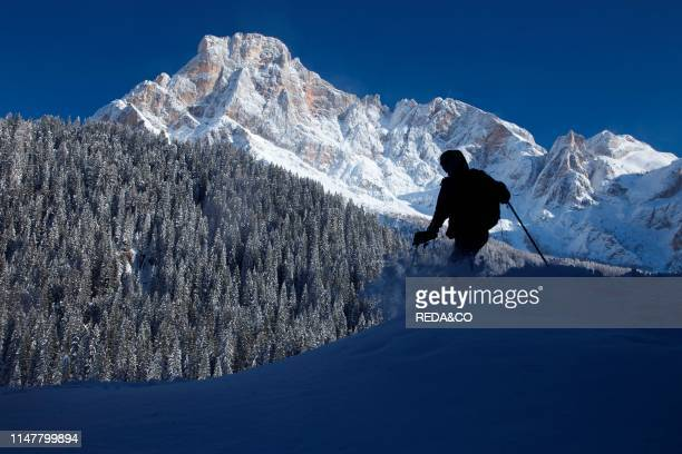 Winter landscape at Dolomiti of San Martino di Castrozza. Primiero. Trentino. Italy Europe.
