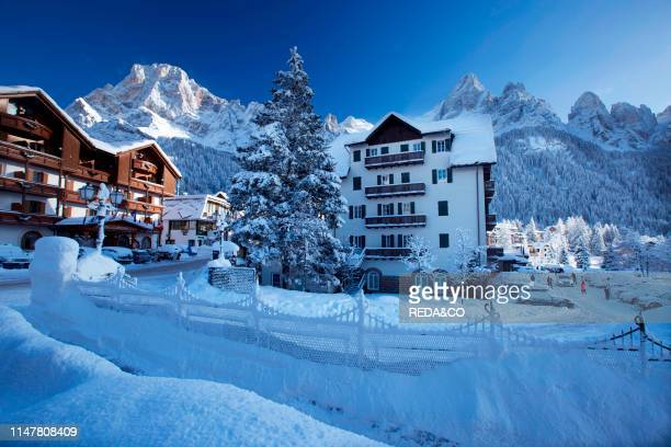 Winter landscape at Dolomiti of San Martino di Castrozza. Primiero. Trentino. Italy Europe. .
