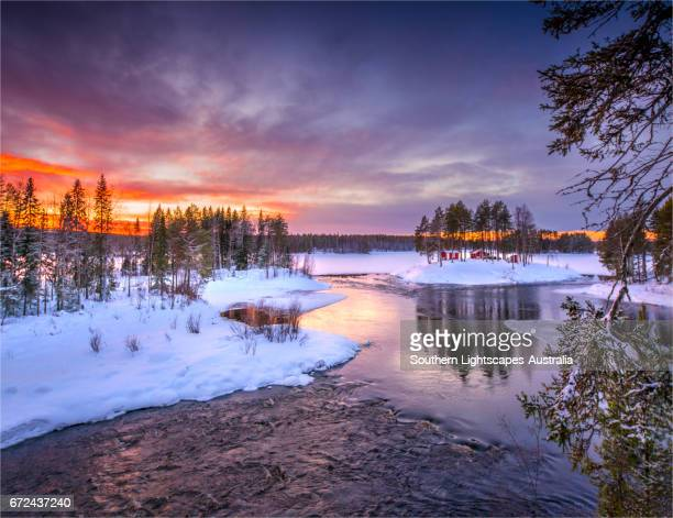 Winter landscape at dusk, countryside near Ranea, Lapland, Sweden