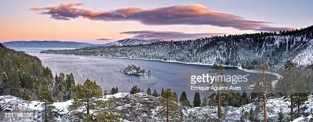 winter landscape at emerald bay, lake tahoe, california, usa - emerald bay lake tahoe stock pictures, royalty-free photos & images