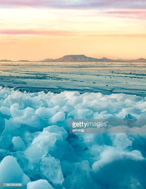 winter landscape at lake balaton, hungary - hungary stock pictures, royalty-free photos & images