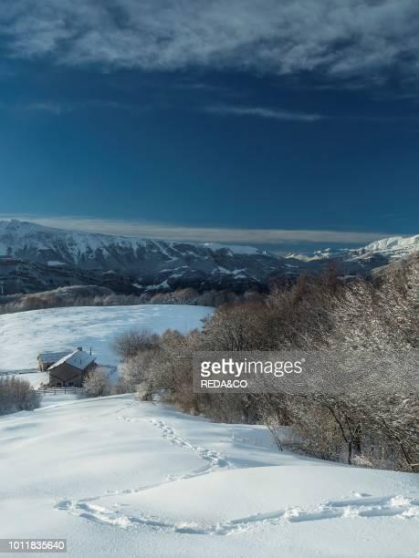 Winter landscape at Lessinia at alm Cornafessa with background fo Monte Baldo Monti Lessini Vallagarina Trentino Italy Europe