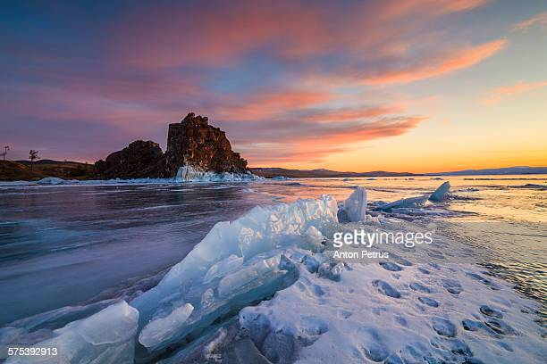 Winter landscape at sunset. Lake Baikal.
