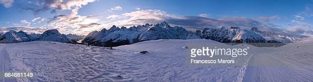 Winter landscape, Engadine, Switzerland, panoramic view