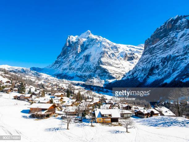 Winter landscape, Grindelwald, at back Mittelhorn and Wetterhorn, Interlaken-Oberhasli, Bernese Oberland, Canton of Bern, Switzerland