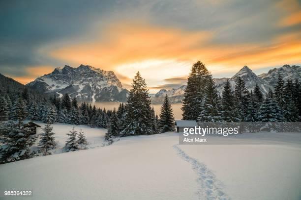 a winter landscape in tyrol, austria. - schnee stock-fotos und bilder