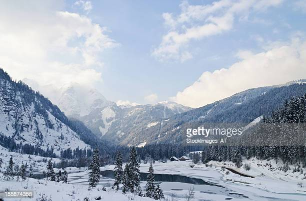 Winter landscape of the Austrian Alps and Gosau bank dam