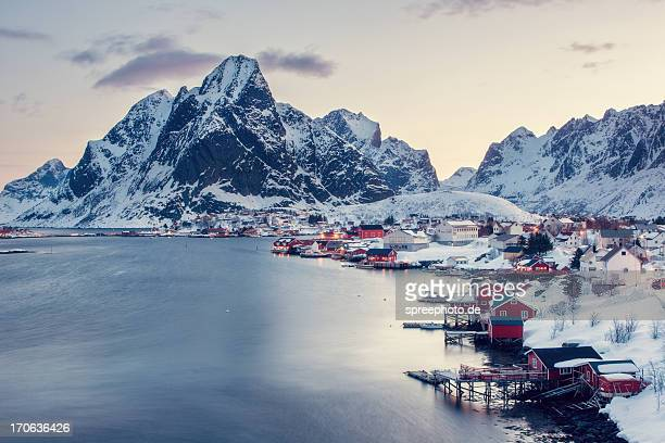 Winter landscape, Reine fishing village, Lofoten