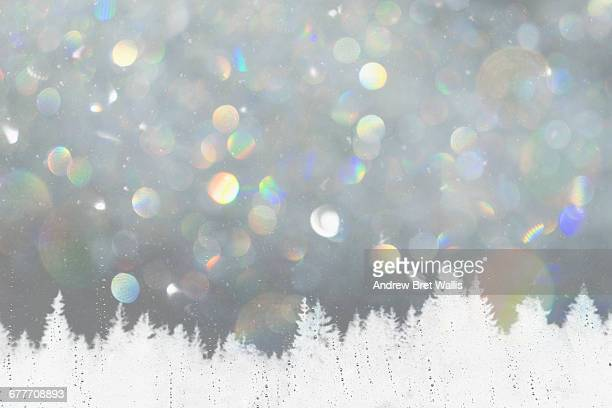 winter landscape through a sleet smeared window - sleet stock photos and pictures