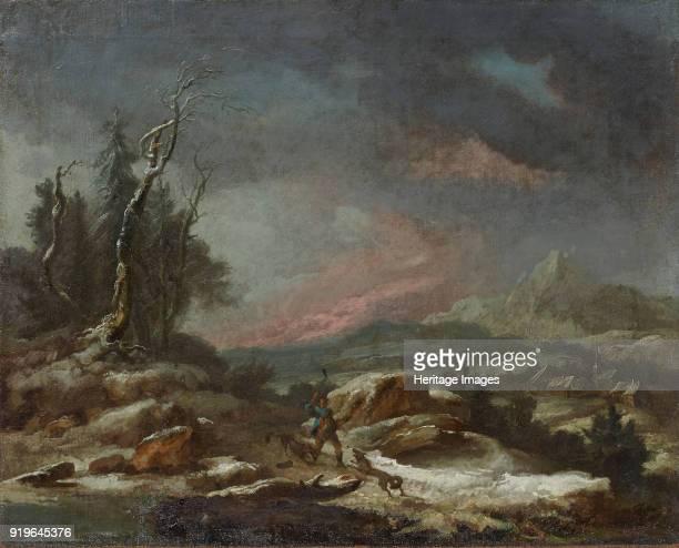 Winter landscape with a walker in the fight against wolves 1771 Found in the Collection of Stiftung für Kunst Kultur und Geschichte Winterthur