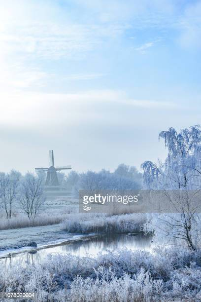 Winter landscape with an old windmill in Holland near Kampen