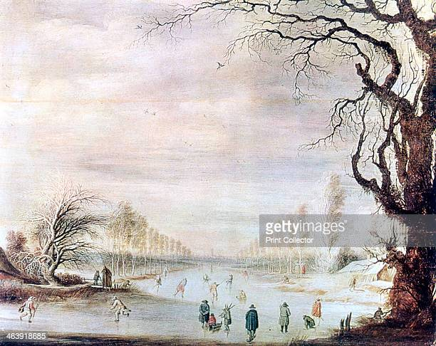 'A Winter Landscape with Ice Skaters' c16061643 Located in the collection at State Hermitage Museum St Petersburg