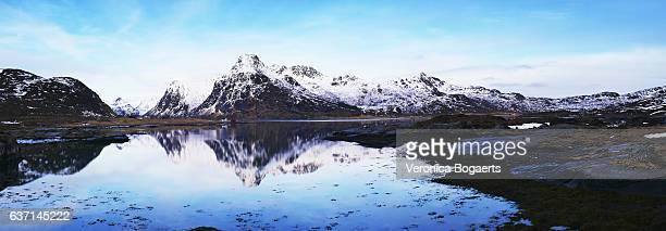 Winter landscape with reflection on Lofoten Islands near Svolvaer, Norway