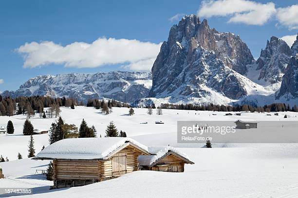 winter landscape with shed and langkofel mountain in dolomites, italy - hut stock pictures, royalty-free photos & images