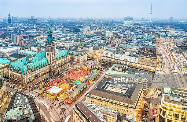 winter lights in the city - hamburg germany - hamburg germany stock pictures, royalty-free photos & images