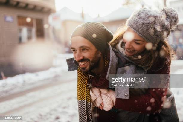winter love - girlfriend stock pictures, royalty-free photos & images