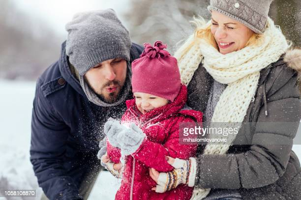 winter magic - winter family stock photos and pictures
