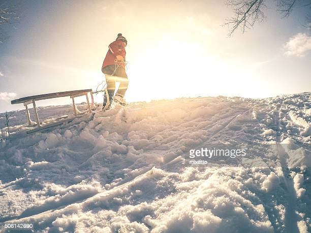 winter magic - sled stock pictures, royalty-free photos & images