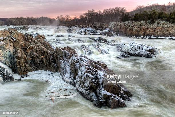 winter mist at great falls - fairfax county virginia stock photos and pictures