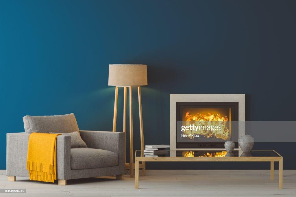 Winter Modern Living Room : Stock Photo