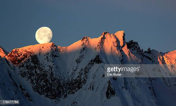 Winter moon set in the Austrian Alps.